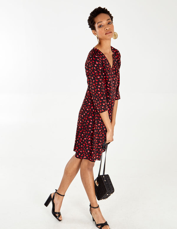 ANOKI - Red/Black Wrap Button Front Dress