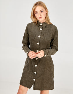CHELSEA - Button Through Cord Shirt Dress