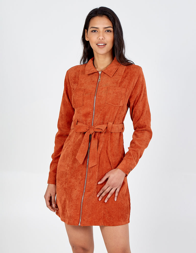 JASMIN - Zip Through Collar Belted Cord Rust Dress