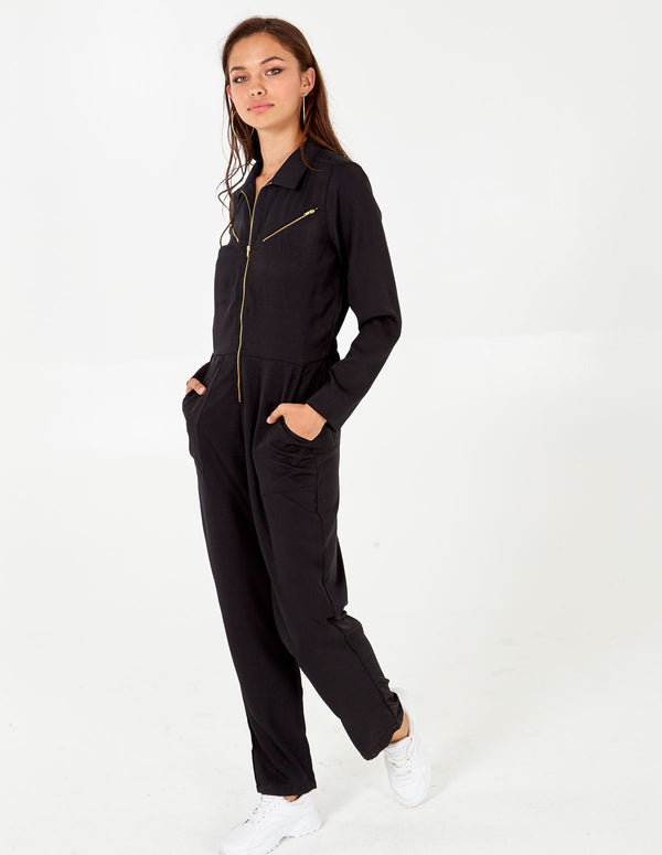 AMIYAH - Black Zip Pocket Boilersuit