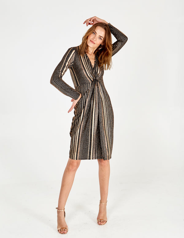 ROSE - Gold-Foil Stripes Twist Front Midi Dress