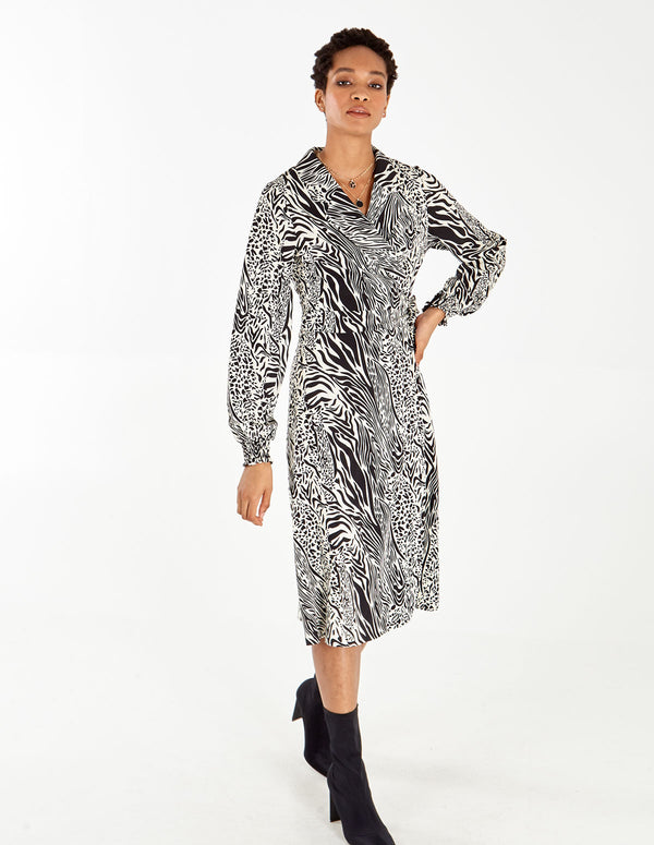 RAYA - Monochrome Animal Print Wrap Dress