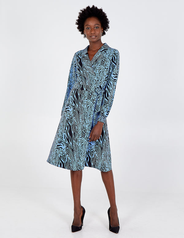 RAYA - Blue Animal Print Wrap Dress