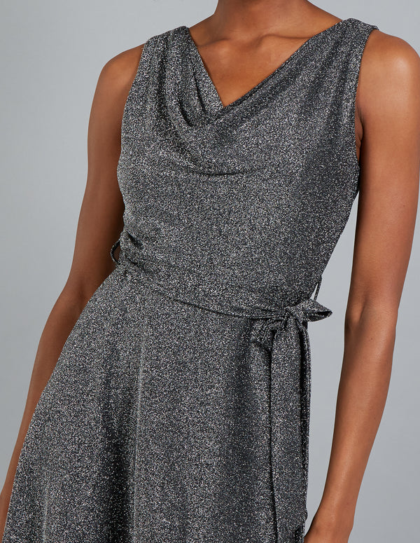 LISA - Cowl Neck Sleeveless Fit & Flare Dress