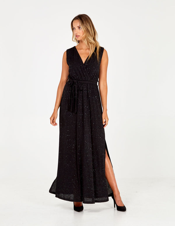 TIANNA - Glitter Wrap Front Maxi Dress