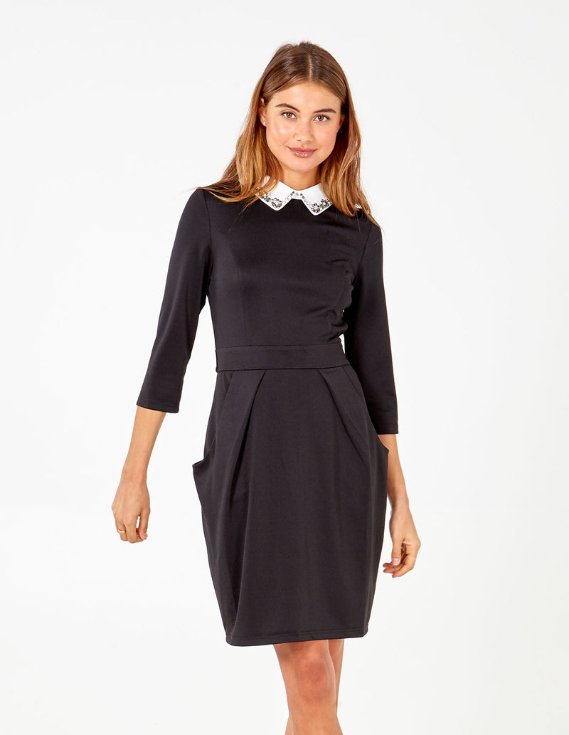 MEADOW - Embellished Bling Collar Tulip Dress