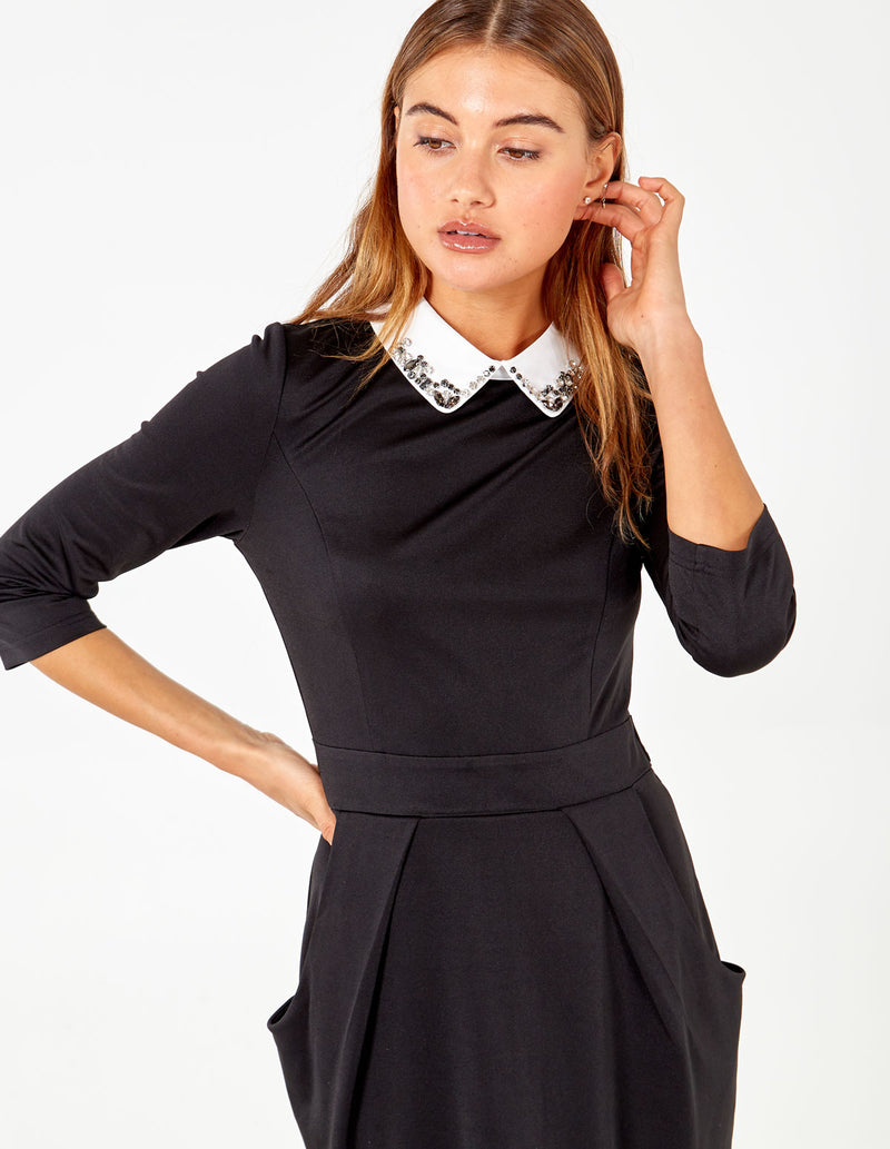MEADOW - Embellished Bling Collar BlackTulip Dress