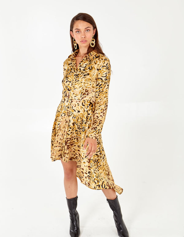 ALIYA - Abstract Animal High-Low Dress