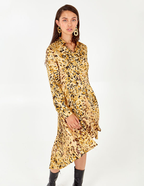 ALIYA - Abstract Animal High Low Dress