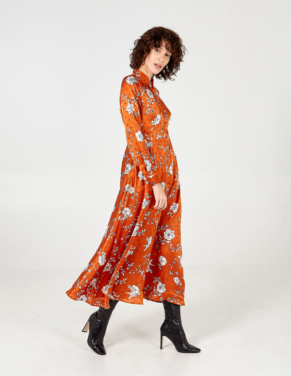 JULIETTE - Floral Spot Collar Maxi Shirt Dress