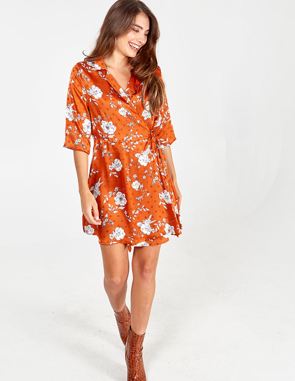 MILLICENT - Floral Spot Collar Wrap Dress