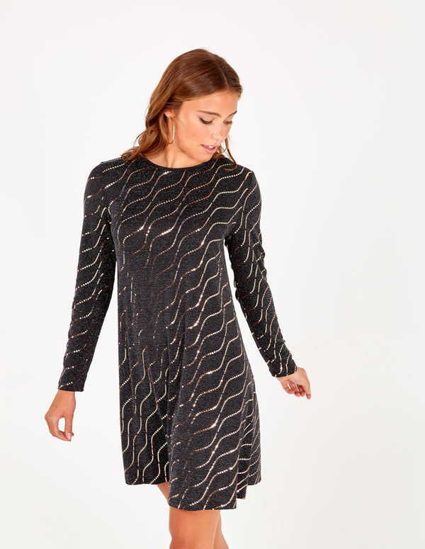 MYRA - Metallic Mirror Swing Dress