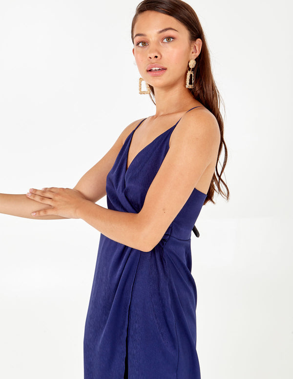 INDIANA - Pleat Detail Cami Wrap Dress