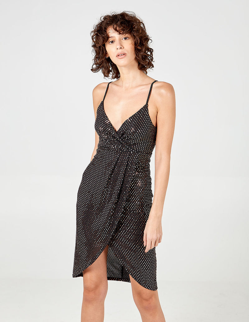 ISOBELLE - Diamond Mirror Wrap Pleated Cami Dress