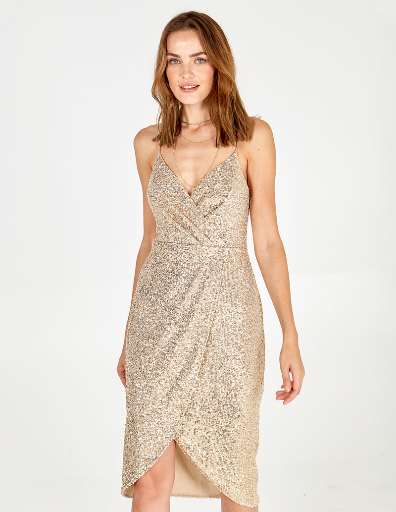 CRYSTAL - Sequin Wrap Pleated Cami Dress