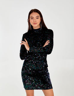 LIA - High Neck Long Sleeve Sequin Dress