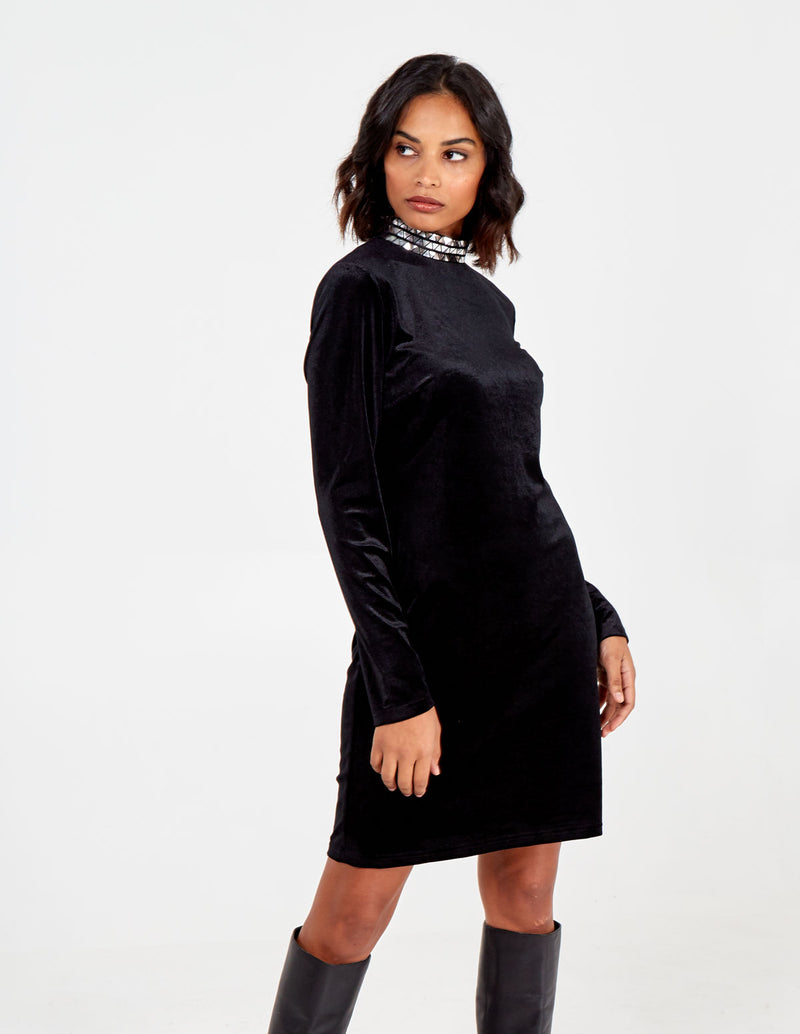 AYSHA - Studded High Neck Dress