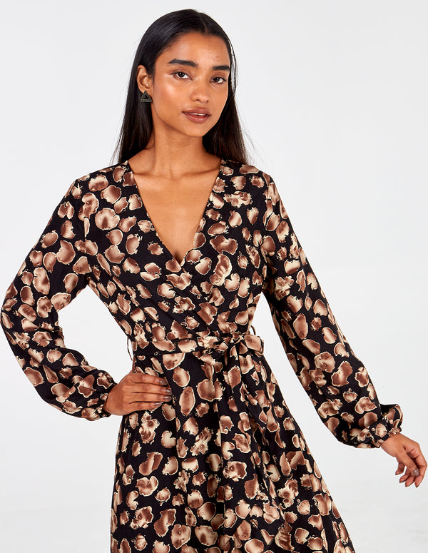 JUNO - Ombre Petal Frill Edge Wrap Dress