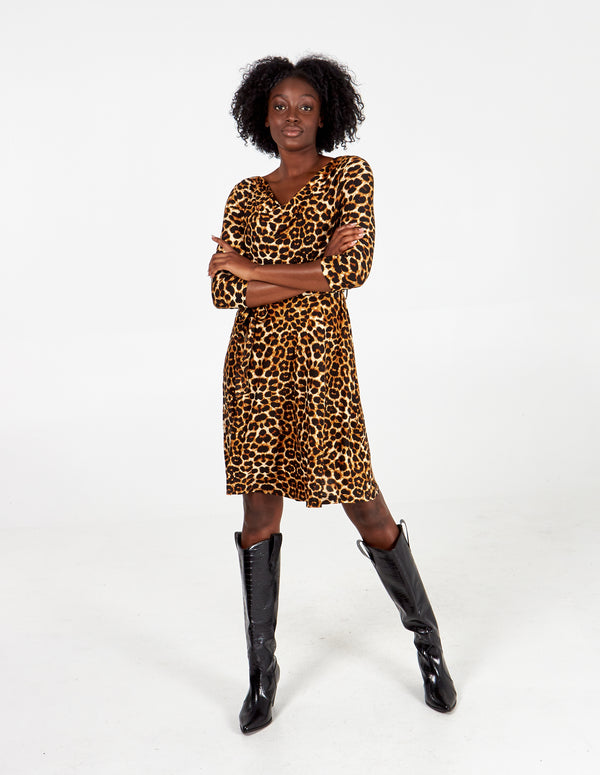 KENDALL - Soft Touch Cowl Neck Leopard Dress