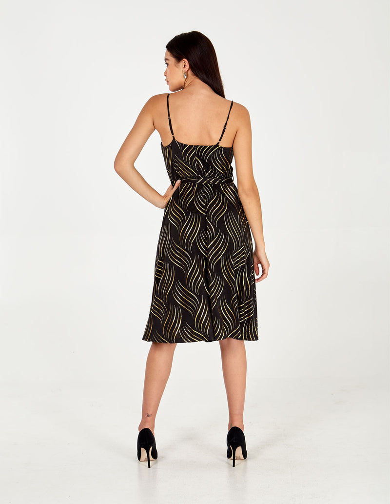 AANYA - Cowl Neck Swirl Foil Cami Dress