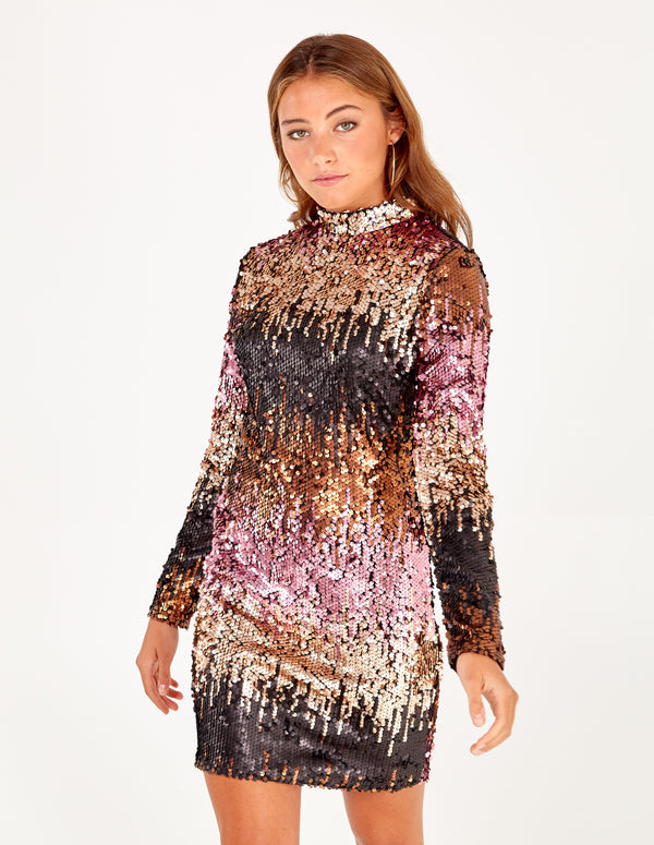 ADELE - High Neck Ombre Sequin Dress