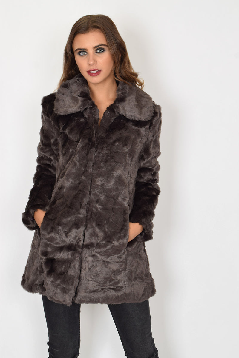 AFTON - Chocolate Faux Fur Coat
