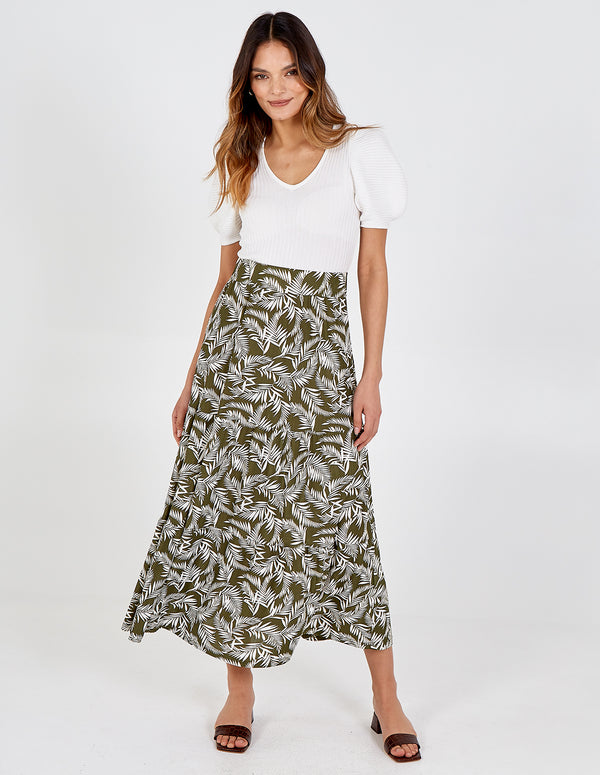 ASIA - Tiered Leaf Print Skirt
