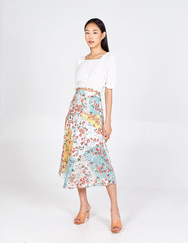 HONOR - Asymmetric Patch Floral Midi Skirt