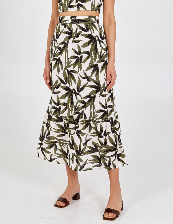 ZAHRAA - Tiered Tropical Print Midi Skirt