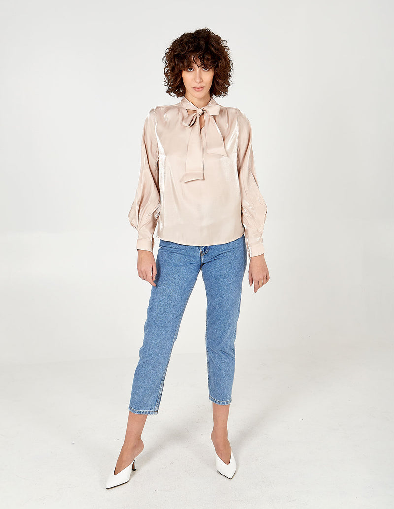 CHRISTINA - Tie Neck Balloon Sleeve Blouse