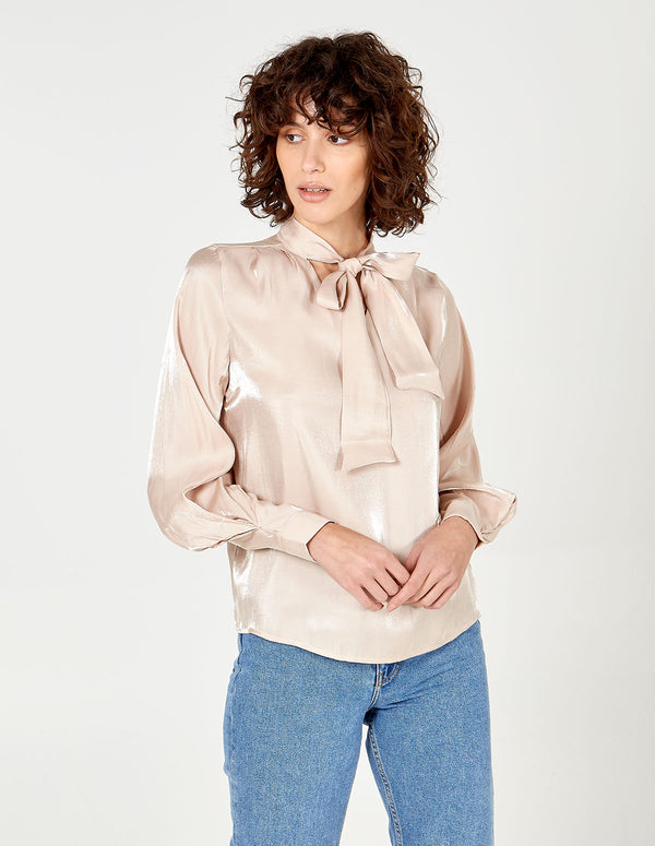 CHRISTINA - Tie Neck Balloon Sleeve Top