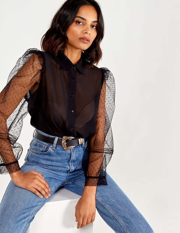LAILA - Sheer Puff Polka Sleeve Pocket Shirt