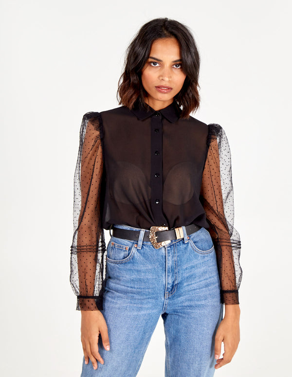 LAILA - Sheer Puff Sleeve Polka Dot Shirt