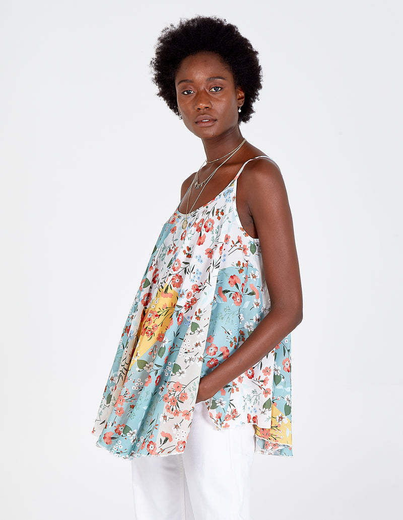 NUALA - Spaghetti Strap Patch Floral Swing Top