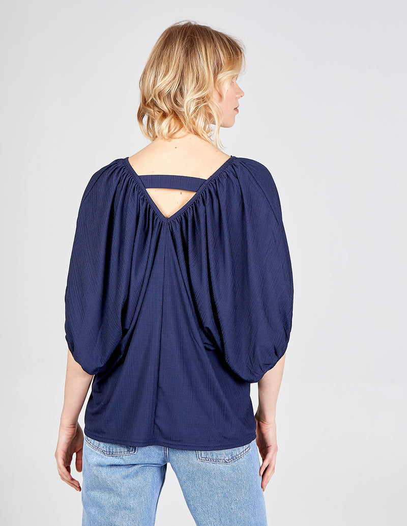 LILITH - Deep V Back Batwing Top