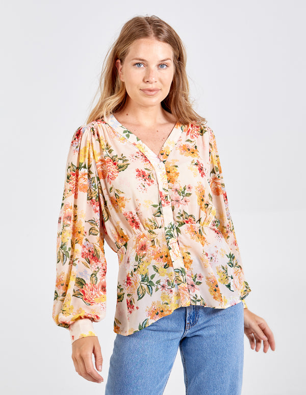 NEVAEH - Gathered Details V Neck Button Blouse