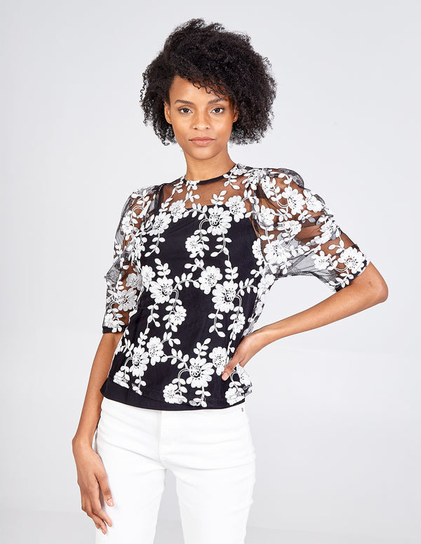 RUMAISA - Puff Sleeve Embroidered Top