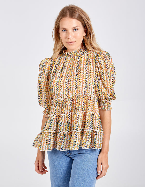 ZAHRA - High Neck Tiered Puff Sleeve Blouse