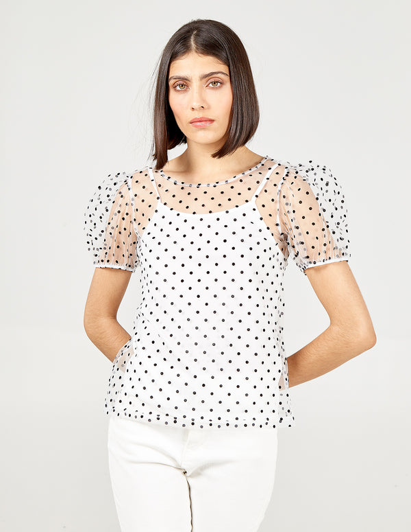 ZAARA - Sheer Puff Sleeve Two In One Top