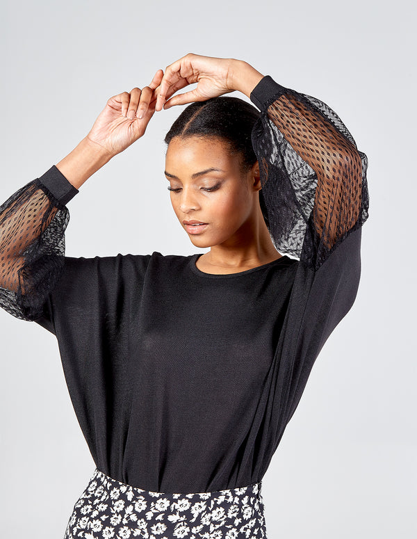 KATHRYN - Mesh Puff Sleeve Batwing Top