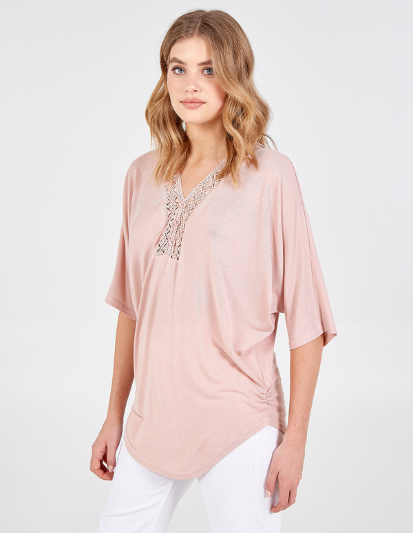 LUNA - Lace Trim V Neck Button Top