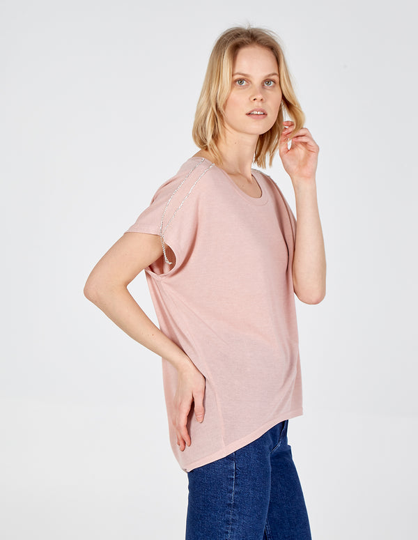 ELINA - Oversized Diamante Top