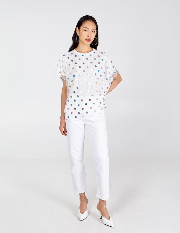BRONTE - Mesh Overlay Metallic Polka Dot Top