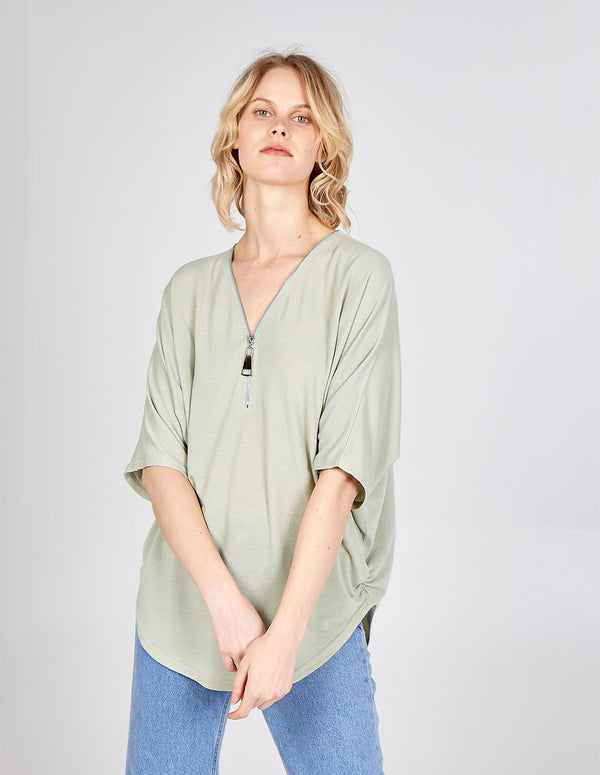 VIVIAN - Mint Zip Front Top
