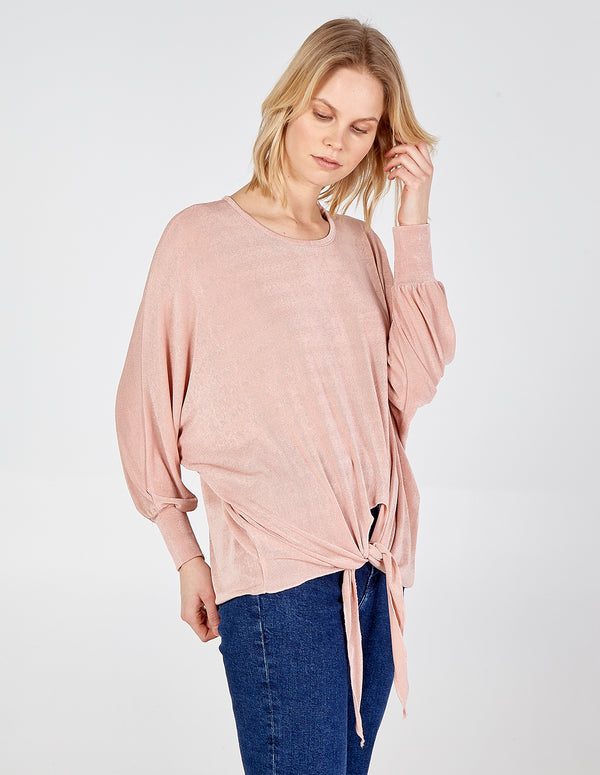 CAOIMHE - Oversized Long Sleeve Knot Front Top