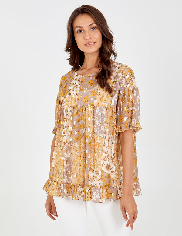 EMILEE - Frill Edge Gold Detail Smock Top