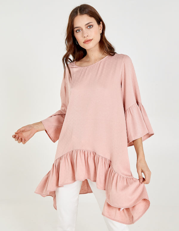 JAZMINE - Frill Sleeve And Hem Top