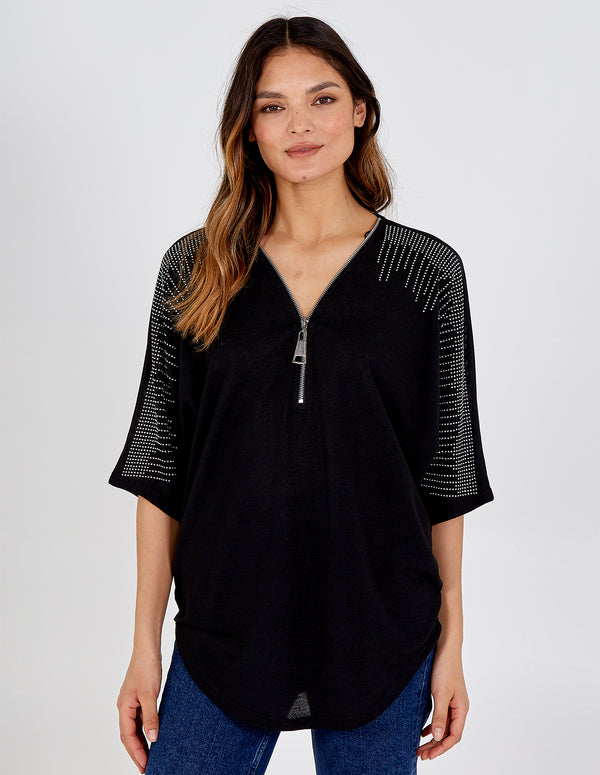 ERIN - Zip Front Diamante Top