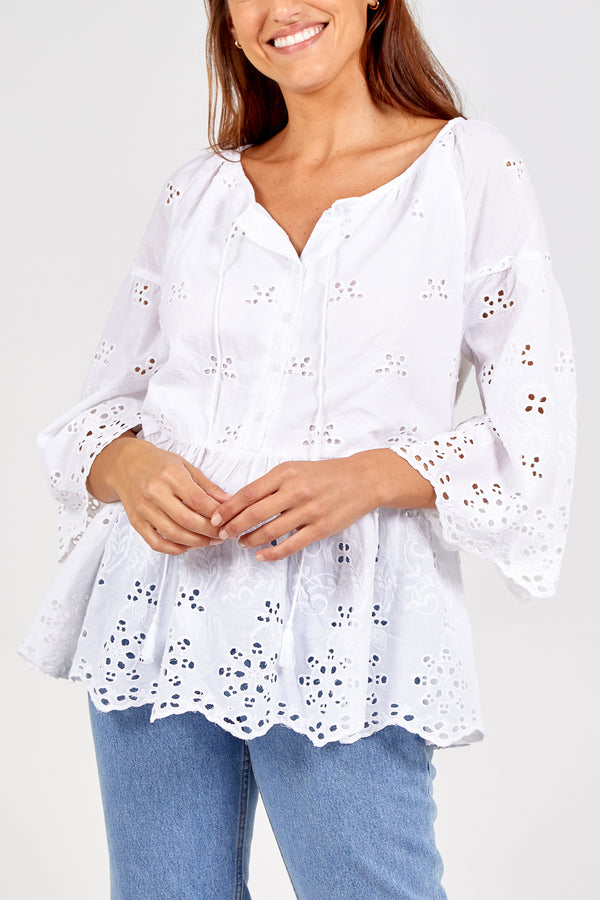 AMAYA - Embroidery Tie Neck Peplum Top