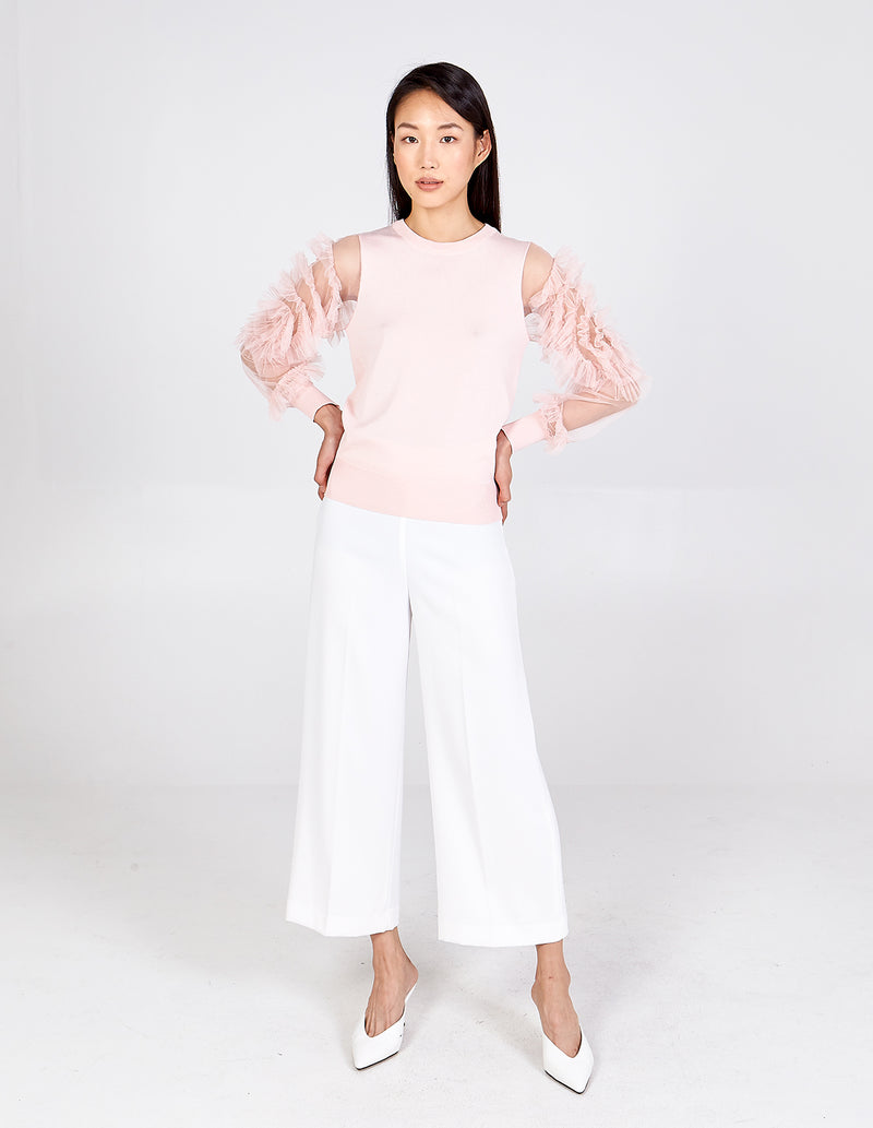 KAJA - Tulle Frill Long Sleeve Top
